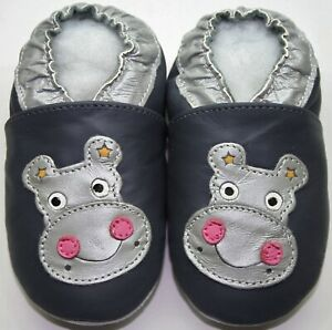 Minishoezoo soft sole baby leather shoes hippo gray 6-12m walking