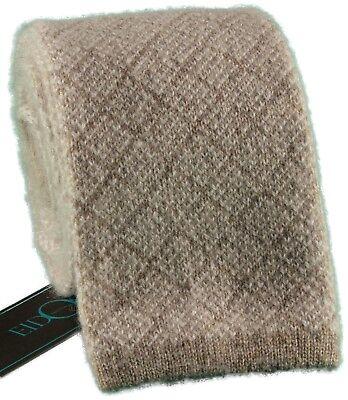 NWT EIDOS by ISAIA wool silk TIE tricot knit gray luxury handmade Italy