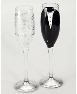 HandPainted Bride And Groom Champagne Flutes Set Of 2