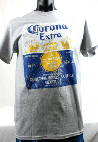 Large New Genuine Mens Corona Extra Grey T-shirt Top Retro Made in Mexico Size