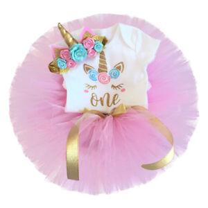 Canis Newborn Baby Girls Unicorn Birthday Party Romper Tutu Skirt Dress Outfits