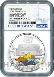 SILVER COIN LISA SIMPSON NGC PF70 FIRST RELEASES 2019 THE SIMPSONS 1 OZ