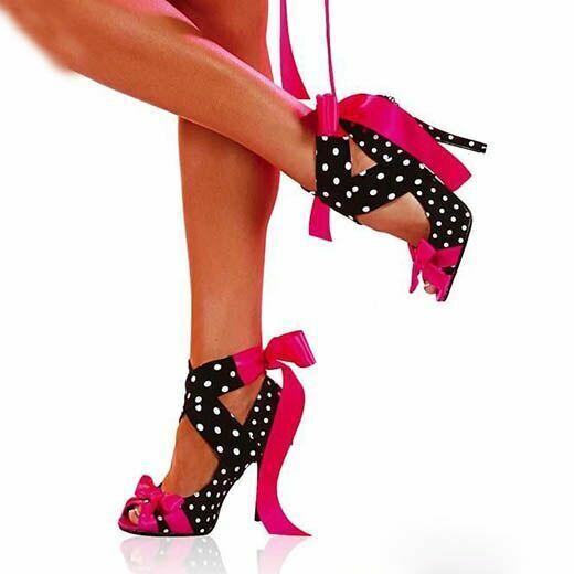 Femme Polka Dot Bride Cheville Talons Aiguilles Club Noeud Bout Ouvert Fête Sexy Chaussures