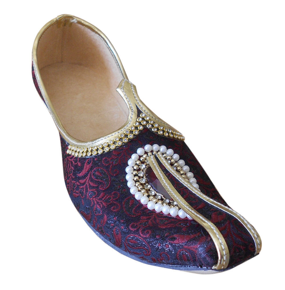 Men shoes Traditional Jutti Handmade Maroon Loafers & Slip Ons Mojari US 6-12