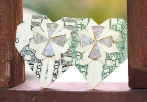 Easy Money Origami Heart Folding Instructions - How to Make Dollar ... | 347x500