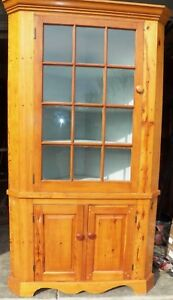 Details about Antique 12 pane Corner Cupboard Kitchen Cabinet Raised Panel  Pine
