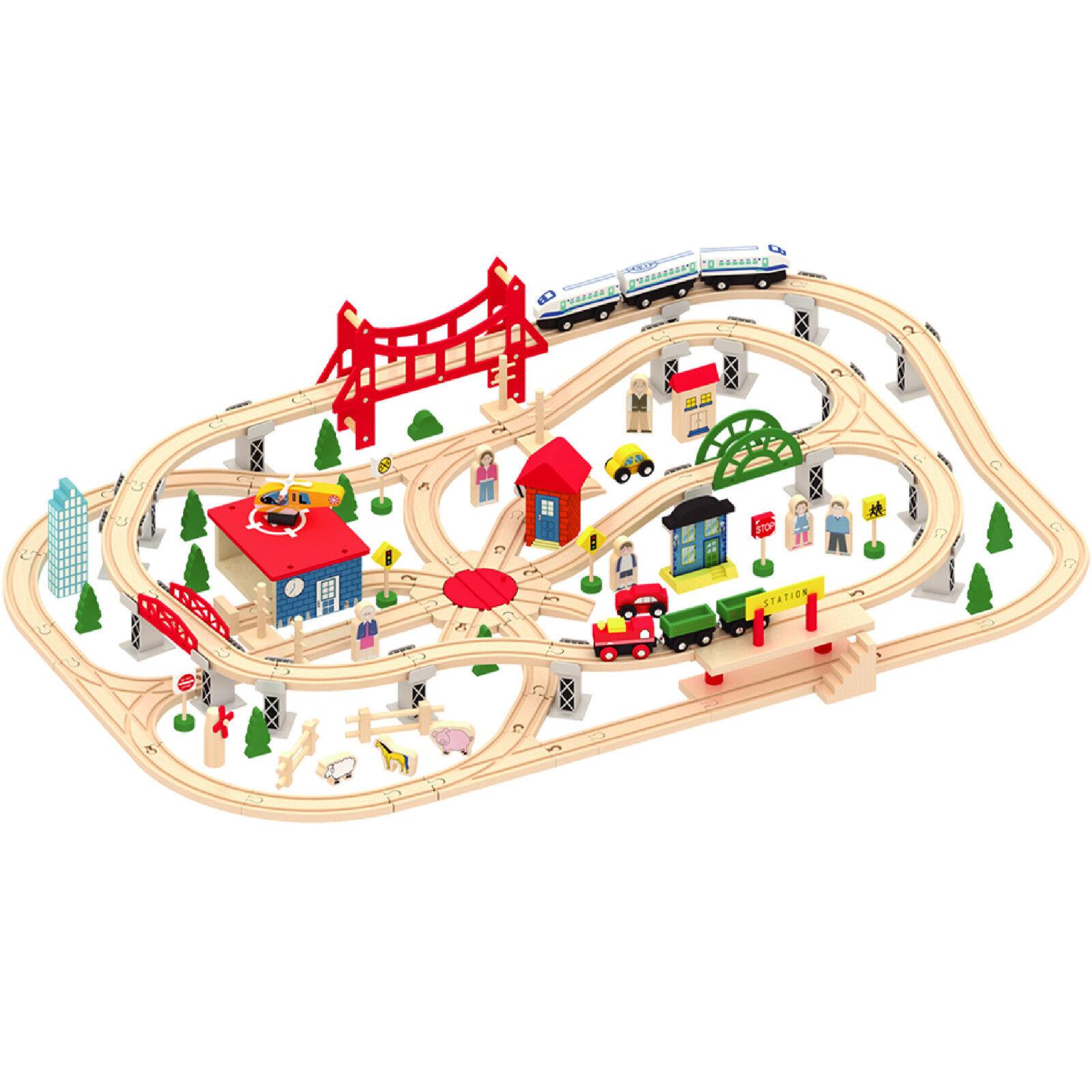 Holz 130 St.Beschäftigt Stadt & Zug Set Bahntrasse Spielzeug Brio Bigjigs