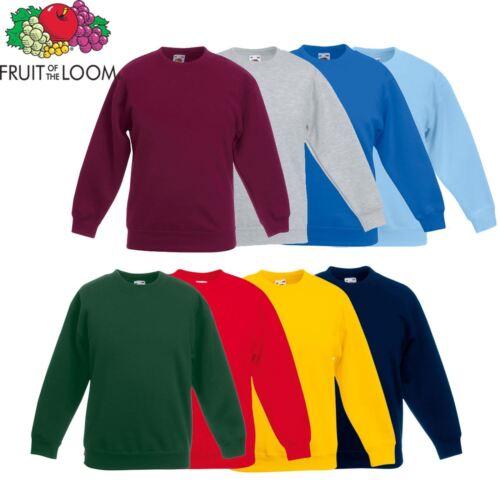 1x 2x 5x Pack Fruit of the loom Garçons Filles Enfants Sweat Raglan uniforme