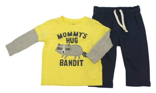 6M Carter/'s 2 Pcs Set Raccoon Layered Top /& Pants Baby Boys 3M