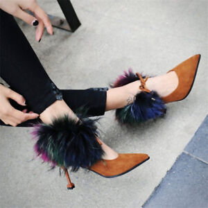 Sexy-Women-Pointed-Toe-Faux-Fur-Kitten-Heels-Pumps-Lady-Ankle-Boots-Party-Shoes