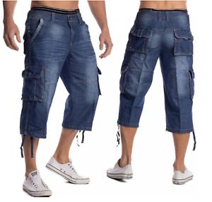 Jeans Mens Cargo Combat Denim Shorts Casual Summer Cotton Half Pants All Waists