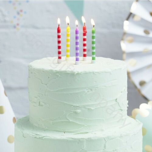 24 Birthday Cake Candles Holders Party Cake Toppers Decoration Gold Silver Pink