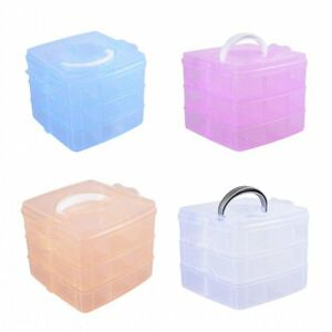 Image is loading 3Tier-Plastic-Clear-Jewelry-Bead-Organizer-Box-Storage-  sc 1 st  eBay & 3Tier Plastic Clear Jewelry Bead Organizer Box Storage Container ...