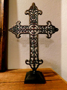 Details About Iron Cross Standing Home Decor Ornaments Tabletop Decorations Christian New