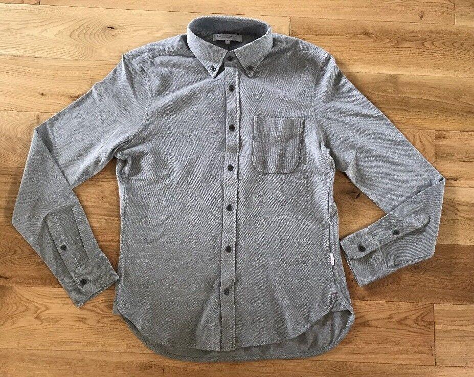 Orlebar Brown Mens Oliver Pique Tailored Grey Long Sleeved Buttoned Shirt Med