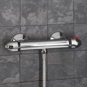 Details about Modern Bathroom Bar Mixer Shower Valve Thermostatic Round  Chrome Bottom Outlet