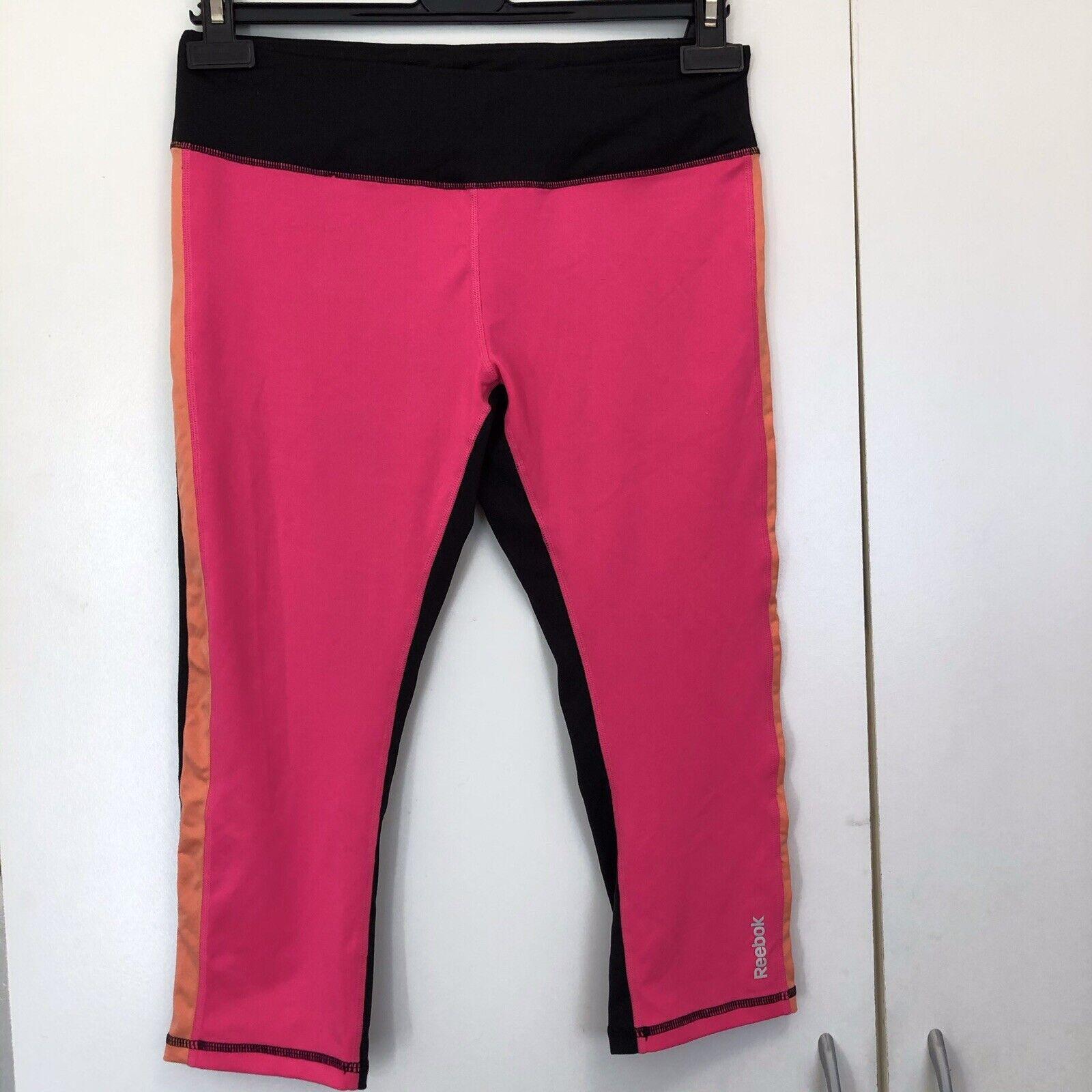Reebok Capri Crop Workout Leggings Size M Pink Black