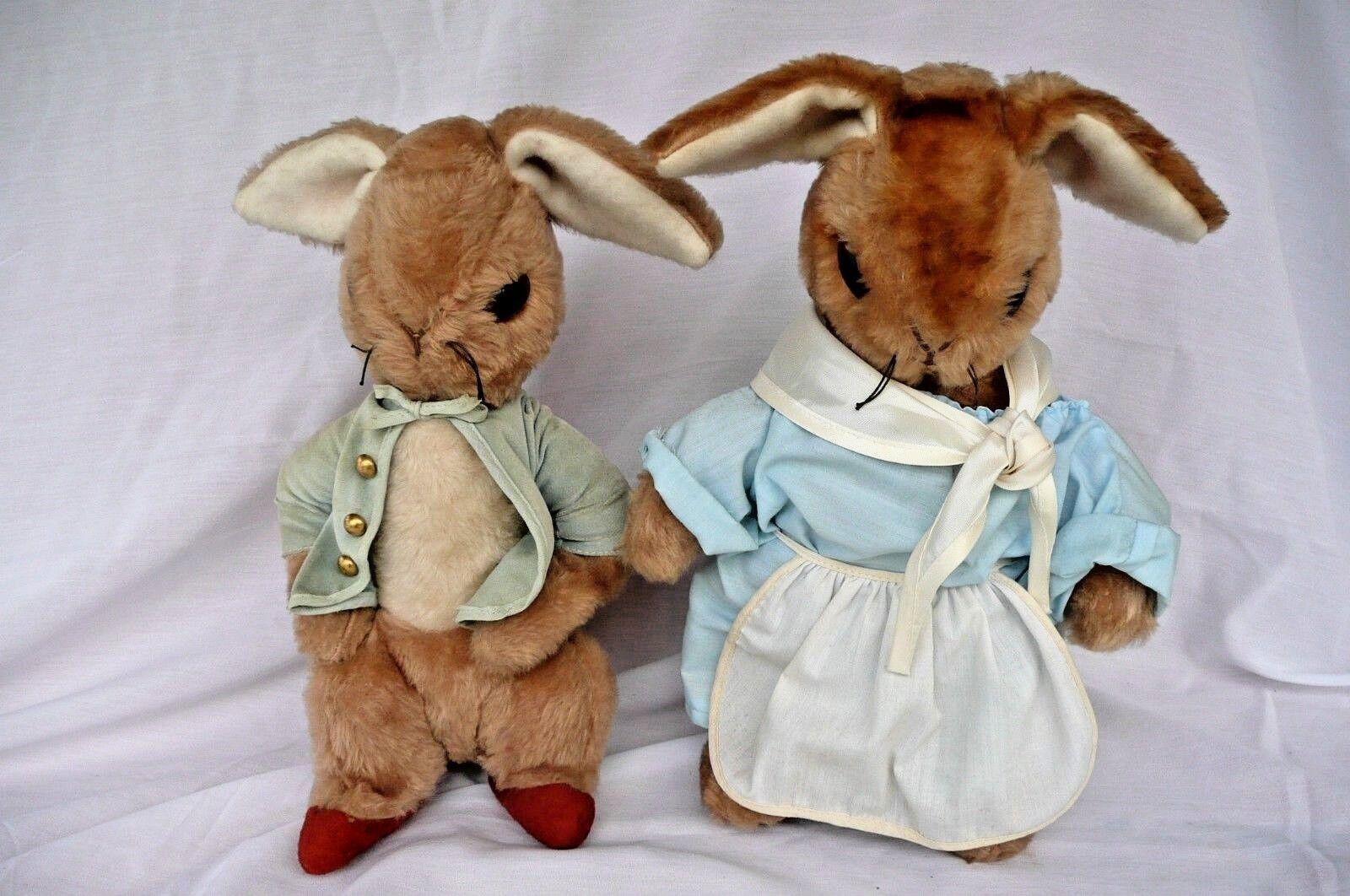 Mrs. Rabbit & Peter Plush Beatrix Potter Eden Toy Co. 1970s Vintage RARE HTF