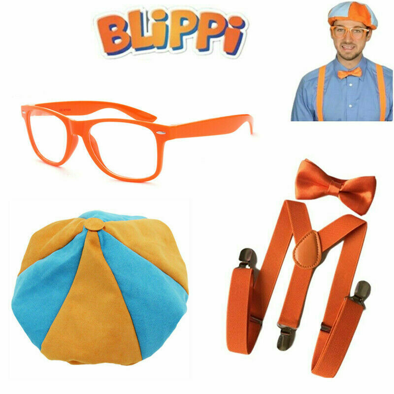Children TV Show Blippi Kid Tie Bow Strap Trouser Strap Braces Pant Cosplay Game