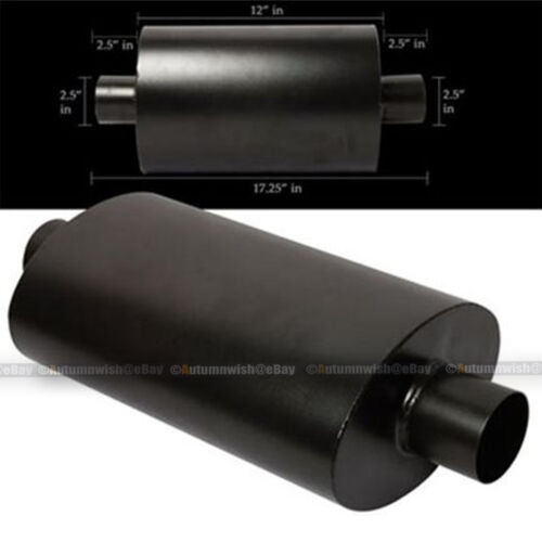"For Ranger Black Tipless Weld On Muffler Exhaust Canister 2.5/"" In//Outlet"
