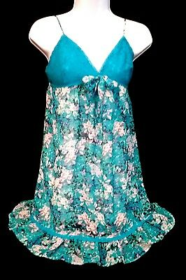 Intimates & Sleep Beautiful Ambrielle Womens Chemise/babydoll Sz M Multicolor Blue Floral Polyester Blend To Reduce Body Weight And Prolong Life Teddies