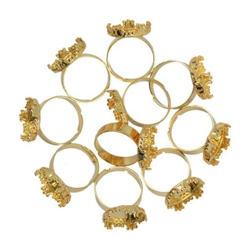 10pcs Adjustable Ring Base Blank Ring 15mm Cabochon Frame Silver White Jewelry