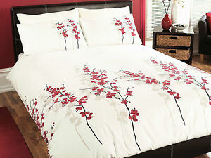 Dreams-amp-Drapes-ORIENTAL-FLOWER-Red-Orchid-Duvet-Cover-Bedding-Set