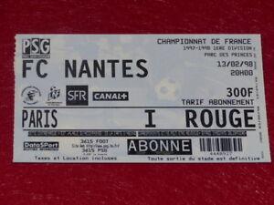 COLLECTION-SPORT-FOOTBALL-TICKET-PSG-FC-NANTES-13-FEVRIER-1998-Champ-France