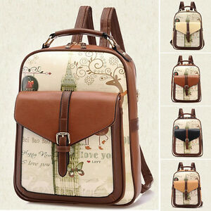 Women-039-s-Backpack-Travel-PU-Leather-Handbag-Rucksack-Laptop-Shoulder-School-Bag