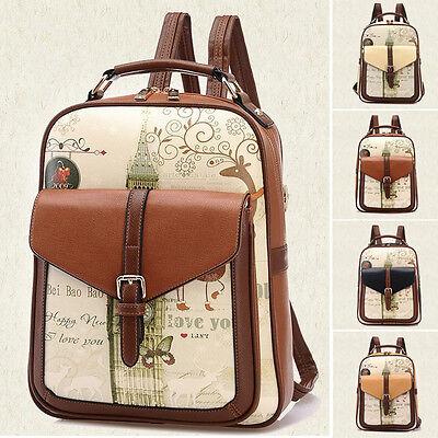 Women Girl Travel PU Leather Shoulder School Bag Vintage Backpack Satchel Cute