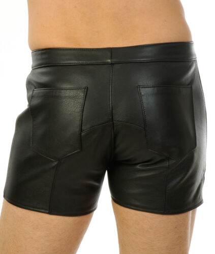 New Genuine Leather shorts Front Zip Fetish Short pouch contour Gay Kinky Style