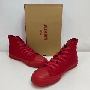 Levi-s-All-Red-Monochrome-Mens-Zip-Ex-L-Mid-Mono-High-Top-Zipper-Canvas-Shoes