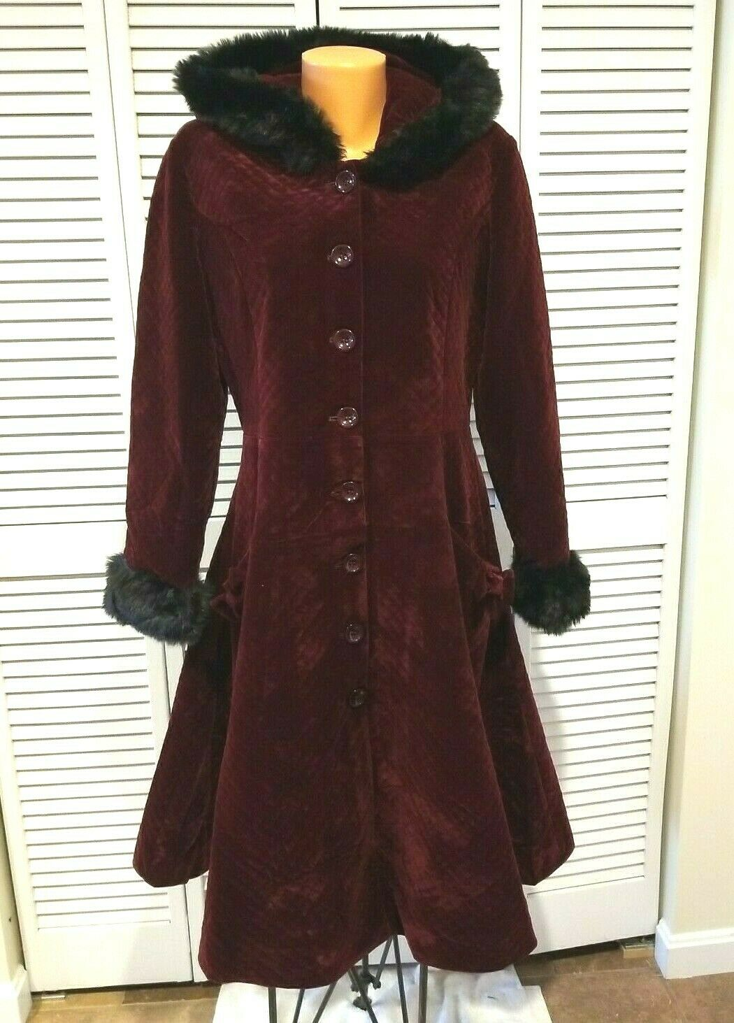 Collectif X Mod Hazel Quilted Velvet Coat Wine Sz 3XS US 0 UK 4 Read Measure