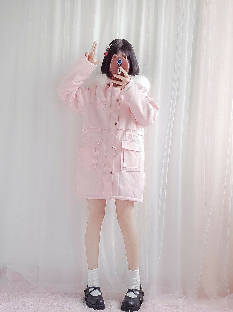 Japanese Style Super Cute Fur Collar Coat Sweet Lolita Cotton Clothes 2colors