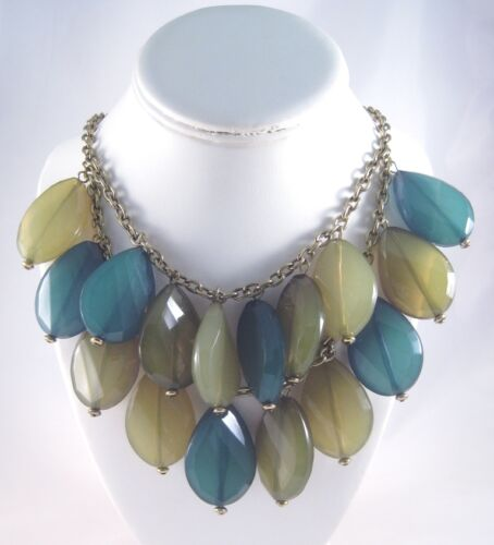 """New Layered Statement Necklace With Large 1.5/"""" Acrylic Drops #N2303"""