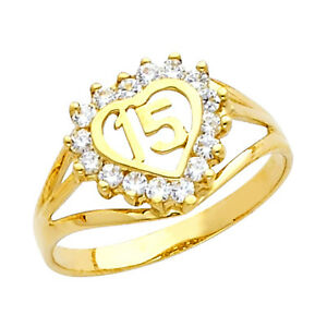 10K Gold Sweet Quinceañera 15 Años Anillo Ring with 16 Clear Cubic Zirconia