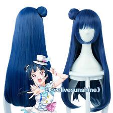 LoveLive!Sunshine!! Yoshiko Tsushima Long Blue Gray Cosplay Hair Wig With Bun
