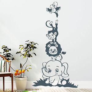 10903-Pegatina-pared-Zoo-Animales-Elefante-Leon-MONO-LORO-motivo-ninos