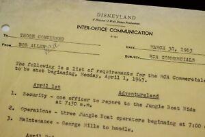 Disneyland-1963-Memo-Walt-Disney-Jungle-Cruise-Tom-Sawyer-Island-Bob-Allen-RCA