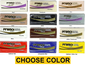 PREMO-SCULPEY-1-lb-Polymer-Clay-CHOOSE-from-13-COLORS-Black-White-Translucent