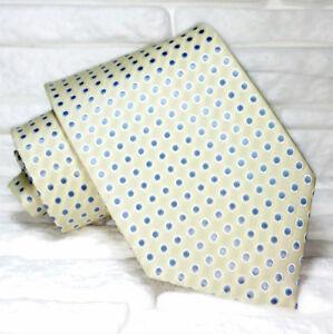 Cravatta Beige Pois Alta Qualità Made In Italy Seta Matrimoni Meetings Business