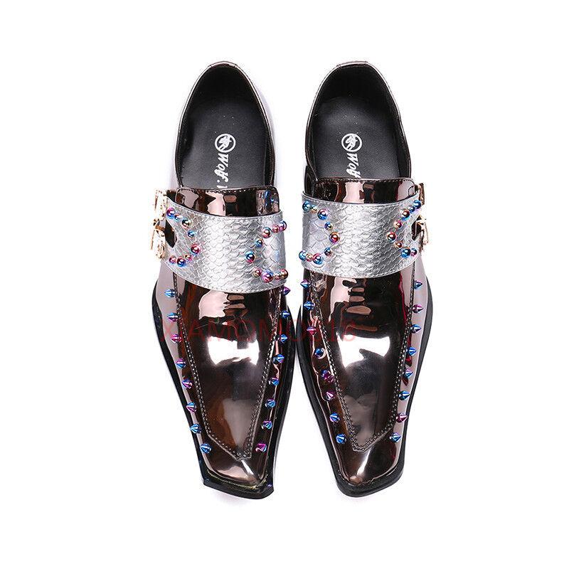Zapatos Para Hombre Cuero Con Remaches Puntera Puntiaguda Bling Formal Boda Zapatos Bling Puntiaguda zsell 68e5d4
