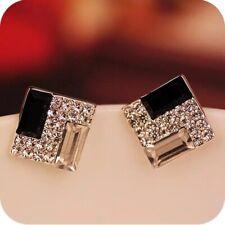 Square Black// Silver Sparkling Rhinestone Gems Stud Earrings UK