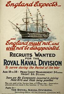 W99-Vintage-WWI-British-Royal-Navy-War-Recruitment-Poster-Re-Print-WW1-A1-A2-A3