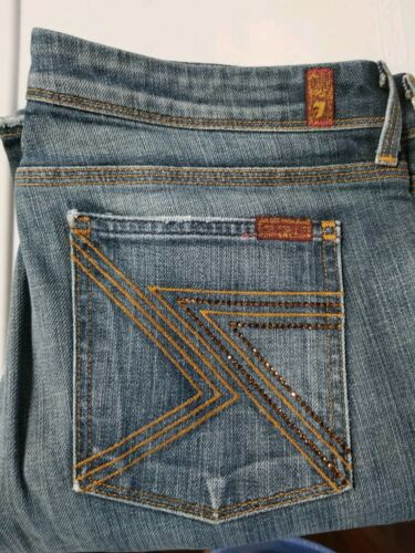 Swarvorski Mankind Womens Size For All Crystal Straight 31 Leg 7 Jeans 6ETxXqZw