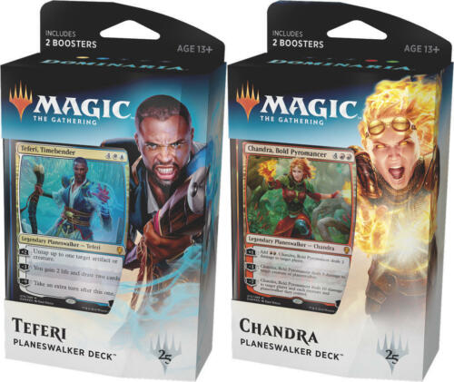 English Magic the Gathering Dominaria Set of 2 Planeswalker Decks NEW IN HAND!