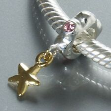 STAR PINK C Z solid 925 sterling silver charm bead for European bracelet