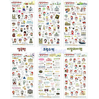 Cute Anne's Travel Stickers Diary Scrapbook Decoration Photo Korean 6 Sheets Set