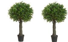 "2 ARTIFICIAL 28"" OUTDOOR UV BOXWOOD TOPIARY TREE BUSH BALL PORCH PATIO 3 4 W POT"