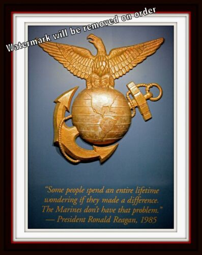 Photograph USMC US Marine Corps Parris Island EGA Reagan Quote 8x10